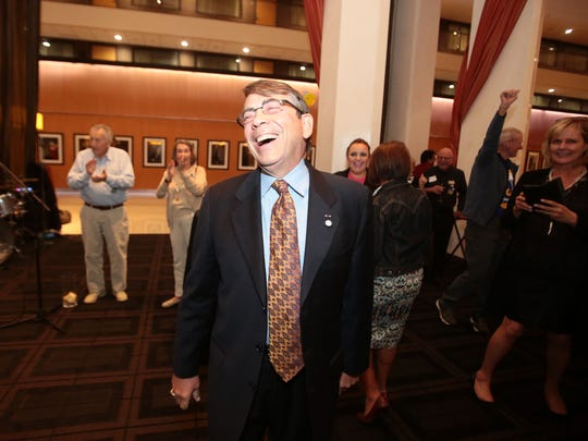 Palm Springs Mayor Rob Moon at the Hyatt in Palm Springs on election night.