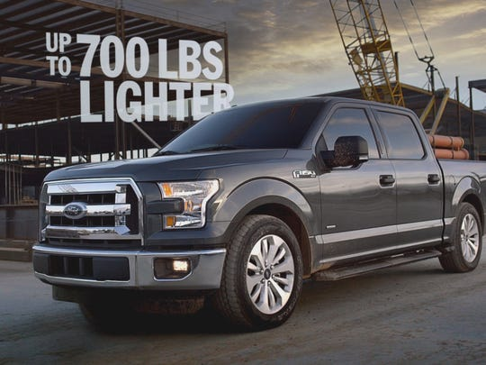 """Image from the 2015 Ford F-150 commercials. """"This is a truck with big claims,"""" says Toby Barlow, chief creative officer for Team Detroit, Ford's advertising agency. """"We didn't want to be shy about it."""""""