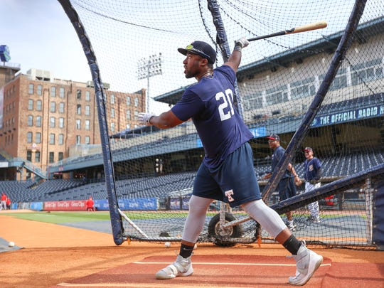 Toledo Mud Hens outfielder Christin Stewart warms up during batting practice at Fifth Third Field in Toledo, Ohio on Friday, June 15, 2018.