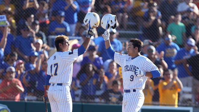 Moody's Alec Martinez (9) gets home two-run home run in the third inning of the game against Pharr Valley View at Cabaniss on Saturday, May 13, 2017. He brought Jordan Perez (17) home.