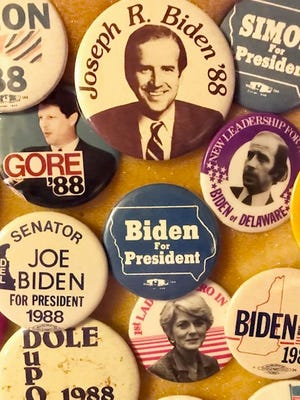 A political button collection by Jerry Knutson including 1988 Presidential candidates.
