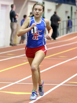 Mary Borkoski of Pearl River wins the Girls 3000 Meter Run Class B during the Section 1 Class B and C Indoor Track Championships at the Armory in Manhattan Feb. 10, 2016.