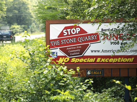 A Stop the Stone Quarry billboard photographed the day in 2014 that the Tippecanoe County commissioners approved an ordinance that blocked the quarry. The ordinance was overturned, but the quarry remains bogged down in legal proceedings.