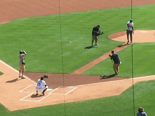 Draymond Green throws out the first pitch Sept. 14, 2017 at Comerica Park in Detroit.
