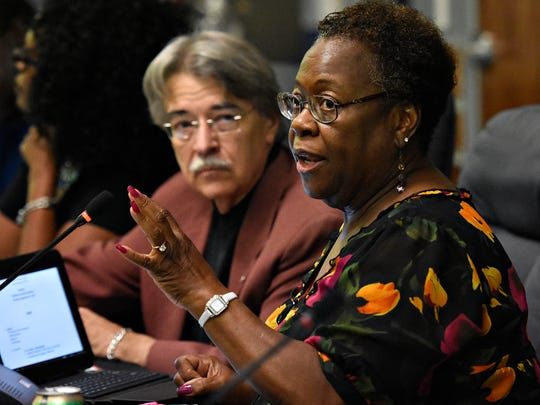 School board President Margie Orr speaks during the York City school board meeting at the School District for the City of York Administration Building in York City, Monday, Sept. 12, 2016. It was proposed, at the meeting, that all home football games be held at 12:00PM on Saturdays, in light of recent shooting of two men during William Penn High School's season-opening football game at Small Athletic Field. Dawn J. Sagert photo
