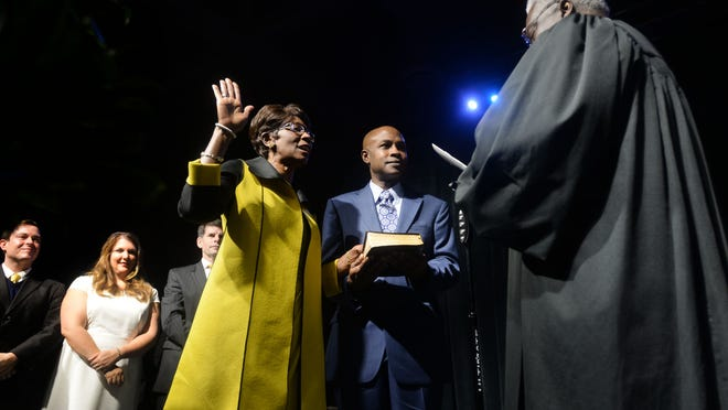 Ollie Tyler takes the oath for the office of as mayor of Shreveport during the inauguration and installation of the Shreveport City Council Saturday morning at the Shreveport Convention Center.