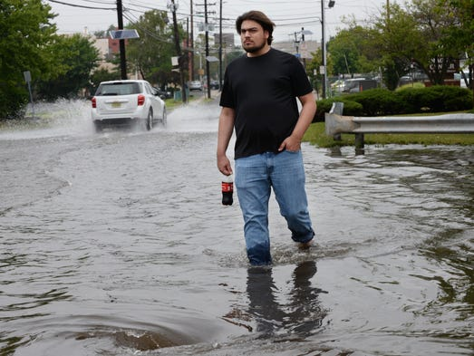 Flooding on South Newman Street in Hackensack, NJ on