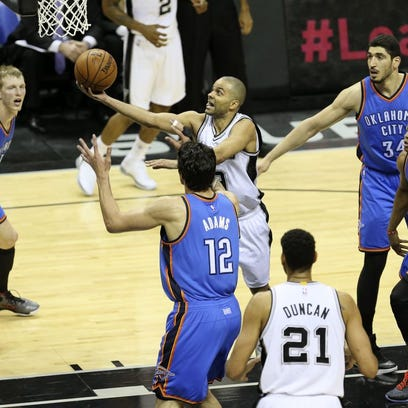 Spurs forward Tim Duncan made 5 of 9 shots and finished with 16 points and six rebounds in Wednesday night's 130-91 win over Oklahoma City.