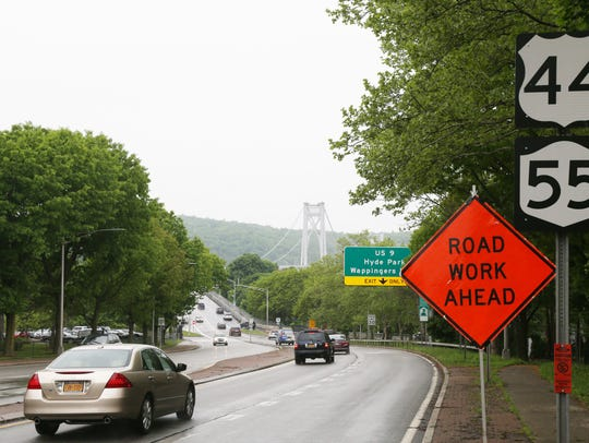 Cars travel along the arterial near the Mid-Hudson