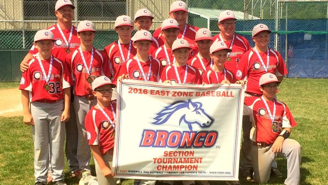 Chambersburg Suburban captured the Bronco (11-12 YO) Section Tournament with a 4-0 record. Team members are, front row (holding banner), Wyatt Barrick, Kieren Wade, Aiden Lorson, Wyatt Pine and Gauge Spoonhour; middle row, Cameron Bailey, Evan Howley, Joseph Maun, Brennan Sease, Kyle Nolan and Hunter Stevens; and back row coach Stewart Stevens, Brant Byers, coach Keenen Wade and coach Greg Bailey.