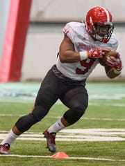 UL running back Trey Ragas, shown during a spring practice.