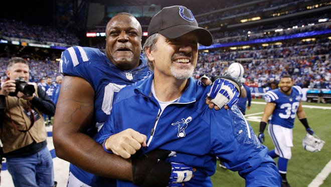 Colts coach Chuck Pagano remains very close to his players.