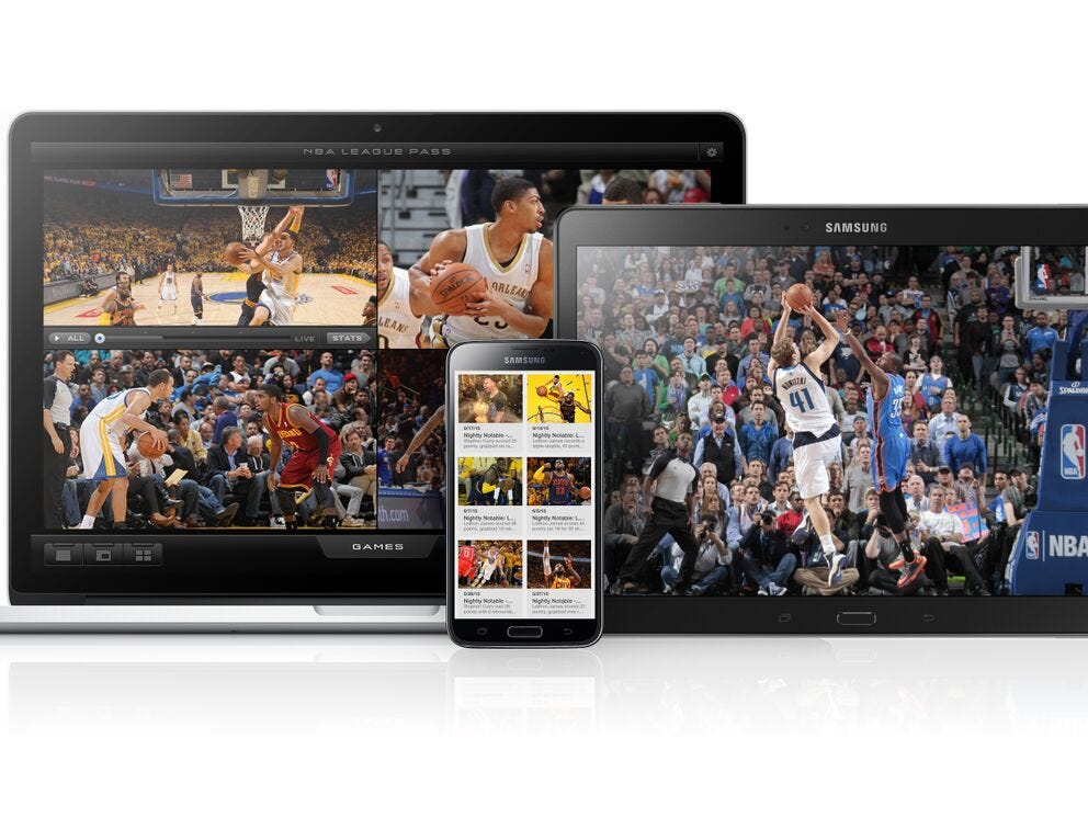 The NBA League Pass app shown on multiple devices.
