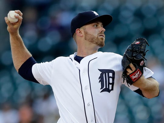 Detroit Tigers starting pitcher Buck Farmer throws during the first inning of a game against the Los Angeles Angels, June 7, 2017, in Detroit.