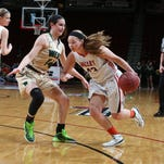Valley's Lexi Merritt drives to the basket during the Tigers' victory over Iowa City West in the semifinals of last year's Class 5-A state tournament at Wells Fargo Arena.
