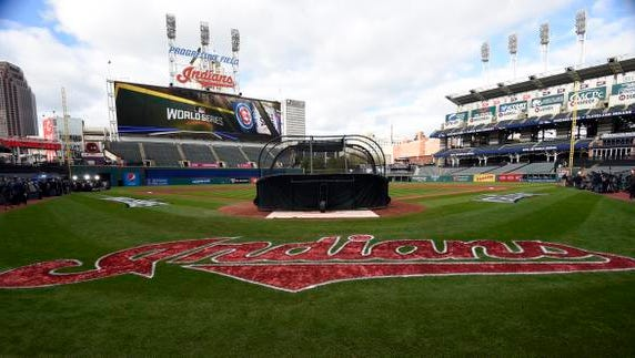 A general view of the field before game one of the 2016 World Series between the Chicago Cubs and Cleveland Indians at Progressive Field. Mandatory Credit: Tommy Gilligan-USA TODAY Sports