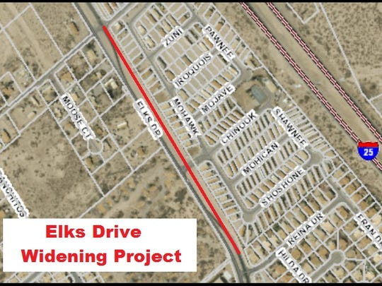 The city of Las Cruces is carrying out a widening project on a segment of Elks Drive in north Las Cruces.
