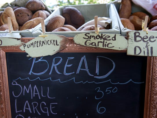 Some of the varieties of bread available for sale at the bread/farm stand run by Elizabeth Degener at Enfin Farm on Sunset Boulevard in Cape May Point.