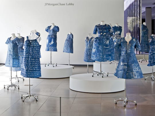 Annie Lopez's cyanotype dresses were exhibited at the