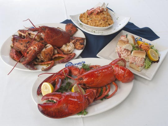 Lobster dinners at Rooney's Oceanfront restaurant in Long Branch include (clockwise from bottom) steamed lobster, Angry Lobster, lobster Mac A Rooney and lobster sliders