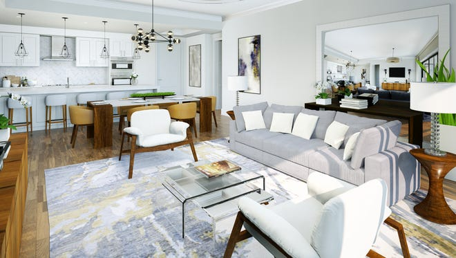 Base-priced at $764,000, Naples Square's Phase III Astoria great room floor plan offers 1,460 square feet of living space.