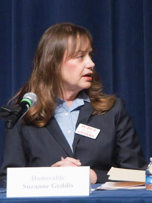 Judge L. Suzanne Geddis and her opponent Judge Carol Sue Reader participated in a candidates forum at the Hartland Educational Support Service Center earlier this year.