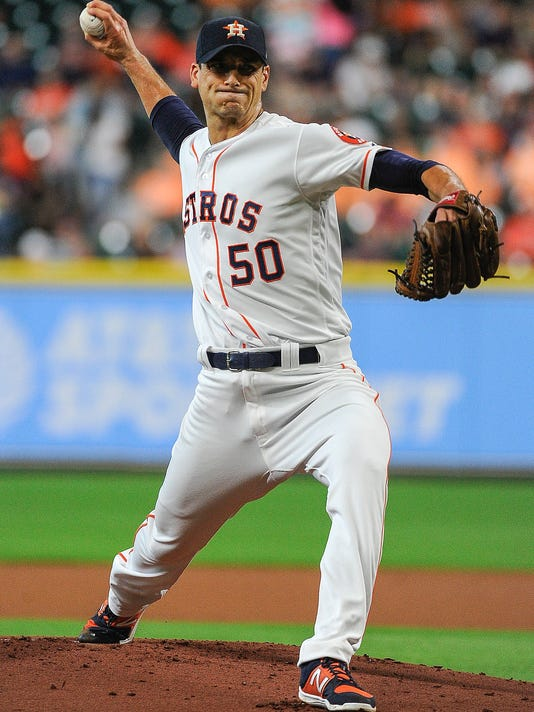 Houston Astros starting pitcher Charlie Morton delivers during the first inning of a baseball game against the Tampa Bay Rays, Monday, July 31, 2017, in Houston. (AP Photo/Eric Christian Smith)