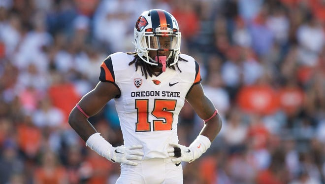Sep 19, 2015; Corvallis, OR, USA; Oregon State cornerback Larry Scott (15) waits for the call from the side line against the San Jose State Spartans at Reser Stadium.
