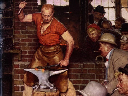 "Detail from Norman Rockwell's ""Shaftsbury Blacksmith"