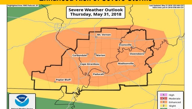 The SPC's outlook for potentially severe weather on Thursday.