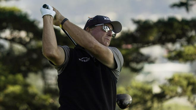Phil Mickelson watches his tee shot on the 15th hole during the first round of the PGA Championship earlier this month in San Francisco.