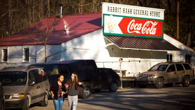 Sun., Feb. 5, 2017:  The Rabbit Hash General Store is at the end stages of construction after it was gutted by fire last February. The warm, sunny weather and music brought a crowd to the historic town Sunday.