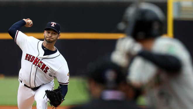 Detroit Tigers pitcher Anibal Sanchez throws for the Toledo Mud Hens against the Norfolk Tides.