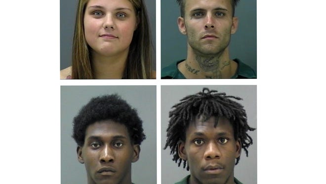 Suspects clockwise from top left: Holly Caudle, Robert Fraser, Teandre Altman, and Frank Rogers.