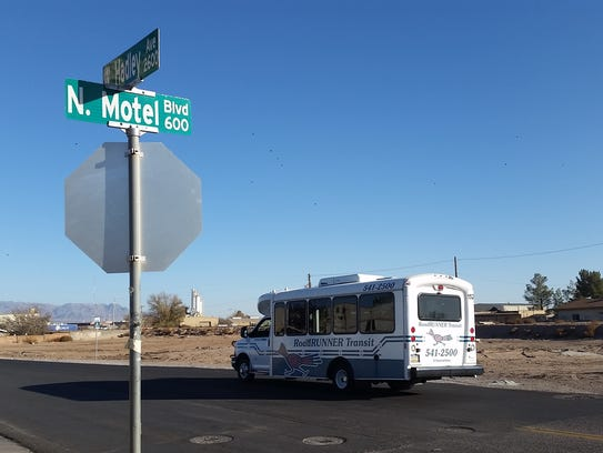 A bus drives on Hadley Avenue after turning from Motel