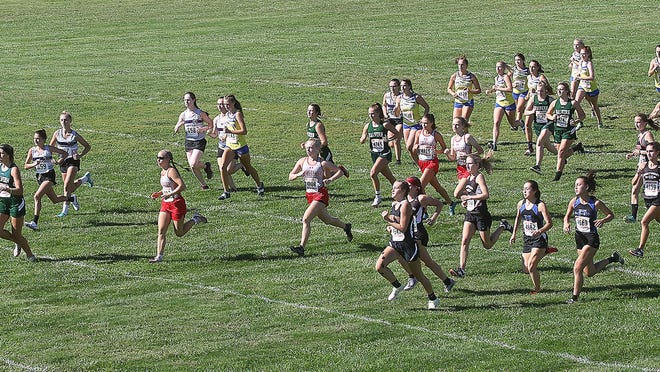 Girls start their race in the Small School Division at the Newcomerstown Invitational cross country meet Saturday.
