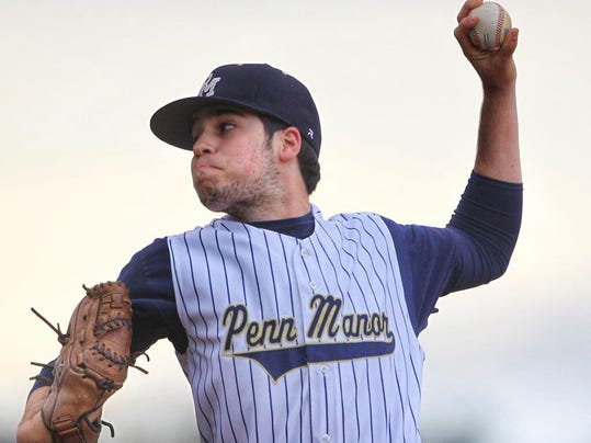 Penn Manor's Jeff Taylor delivers a pitch during the Comets' 1-0 victory over Ephrata on Wednesday, April 22, 2015.