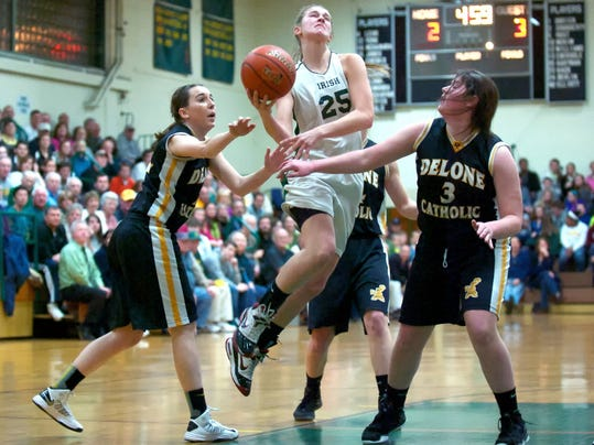 2013 York Catholic graduate Morgan Klunk drives to the basket against rival Delone Catholic