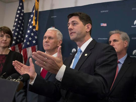 Vice President-elect Mike Pence joins House Speaker Paul Ryan of Wis., and other House Republican leaders at a news conference on Capitol Hill in Washington, Wednesday, Jan. 4, 2017, following a closed-door meeting with the GOP caucus to discuss repeal of President Obama's health care law now that the GOP is in charge of White House and Congress. From left are, Rep. Cathy McMorris Rodgers, R-Wash., chair of the House Republican Conference, Pence, Ryan and House Majority Leader Kevin McCarthy of Calif. (AP Photo/J. Scott Applewhite)