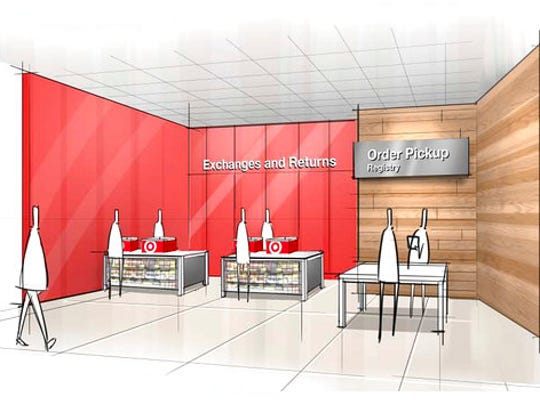 """This image provided by Target Corp. shows a rendering of an area of a redesigned Target store, featuring an """"ease"""" entrance to the Exchange/Returns and Order Pickup sections of the store."""