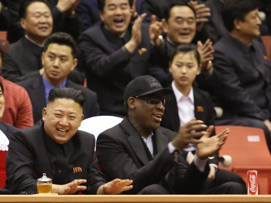 North Korean leader Kim Jong Un, left, and former NBA star and Detroit Piston Dennis Rodman watch North Korean and U.S. players in an exhibition basketball game at an arena in Pyongyang, North Korea, on  Thursday, Feb. 28, 2013. Rodman returned to North Korea also visited North Korea last year.