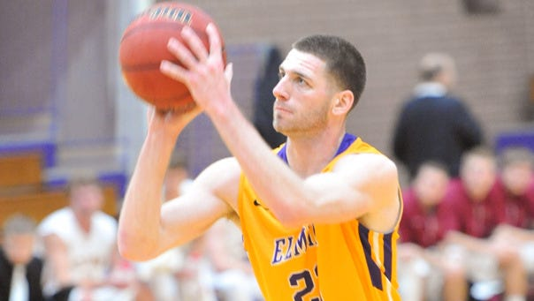 Elmira College's Justin Henderson, shown earlier this season, hit from three-quarters court to give Elmira the win.
