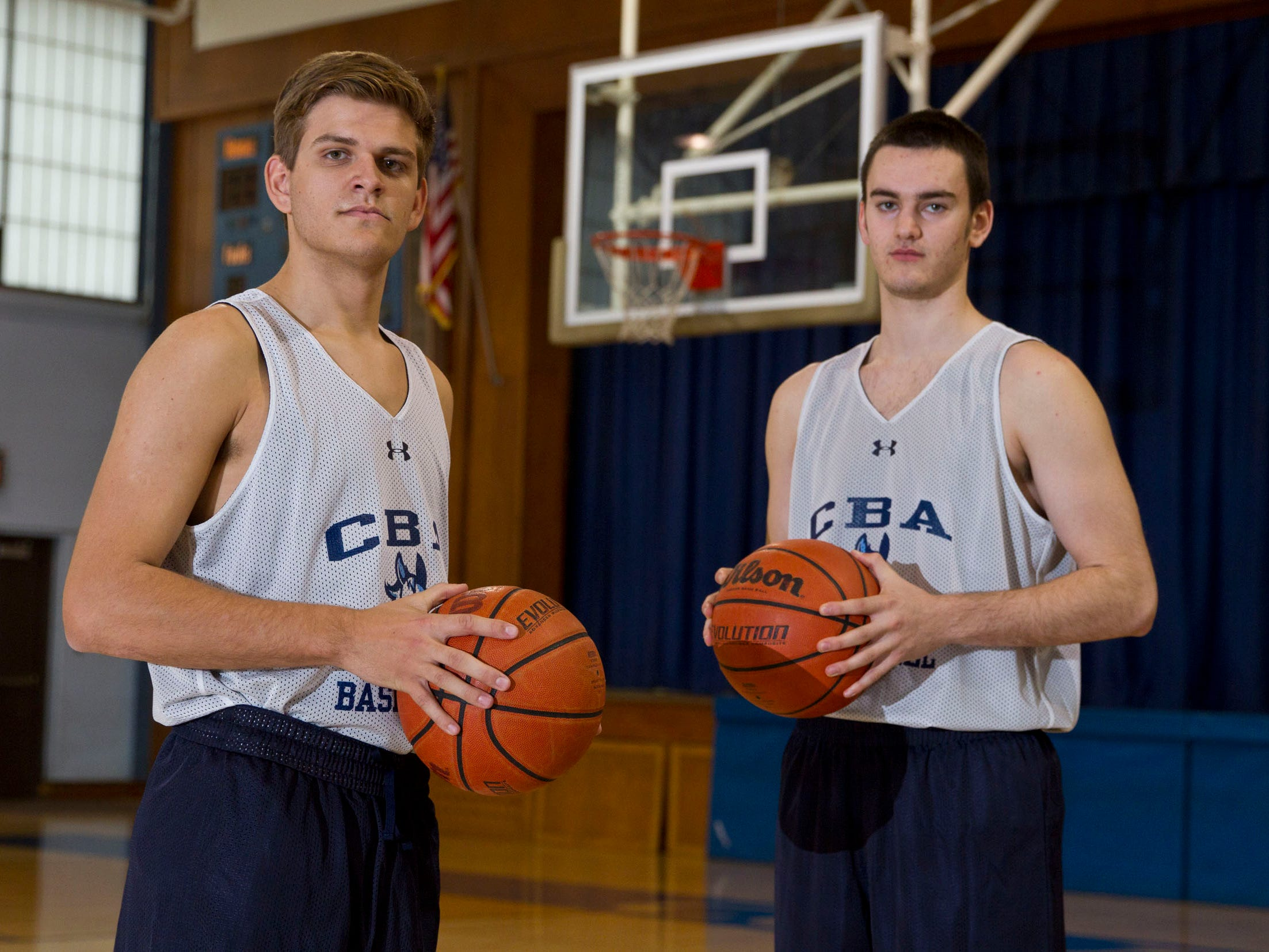 Boys basketball preview featuring Christian Brothers Academy. Jack Laffey and Pat Andree lead the CBA team. Lincroft, NJ Thursday, December 4, 2014 Doug Hood/Staff Photographer Asbury Park Press