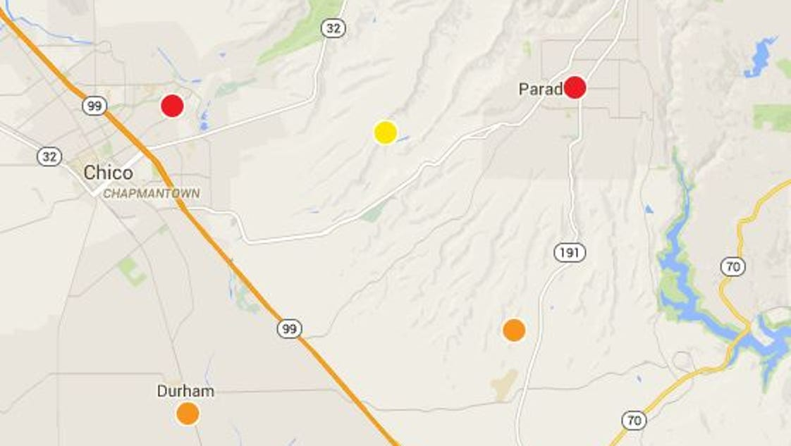 Power outages were impacting portions of Chico, Paradise, Magalia, and other parts of Butte County