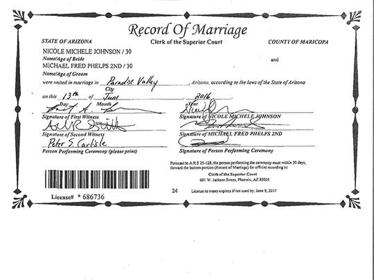 The marriage certificate for Michael Phelps and Nicole
