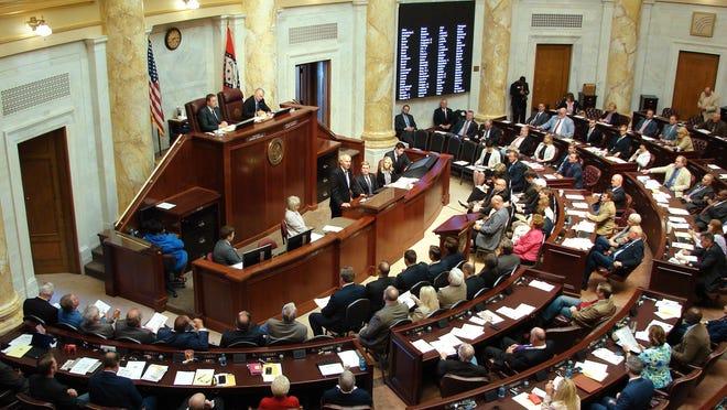 Gov. Asa Hutchinson speaks to the Arkansas Legislature in Little Rock in this file photo.