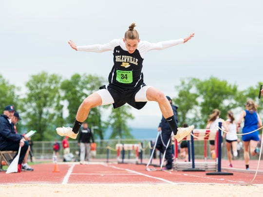 Biglerville's Fisher Taylor competes in the triple jump during the PIAA District 3 track and field championships at Shippensburg University on Saturday, May 20, 2017.