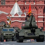 Russian servicemen march at Red Square during the Victory Day military parade in Moscow on May 9, 2016. Russia marks the 71st anniversary of the Soviet Union's victory over Nazi Germany in World War II.