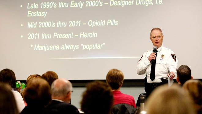 City of Fond du Lac Police Chief Bill Lamb talks at a community program discussing drug use Thursday at the Holiday Inn Convention Center in Fond du Lac.
