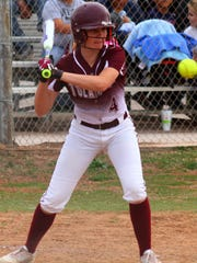 Tularosa eighth-grader Shacie Marr eyes a pitch Thursday afternoon. Marr tallied the only hit in game one.